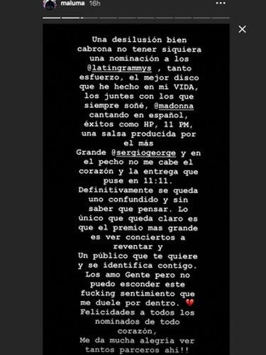 Publicación de Maluma en su Instagram