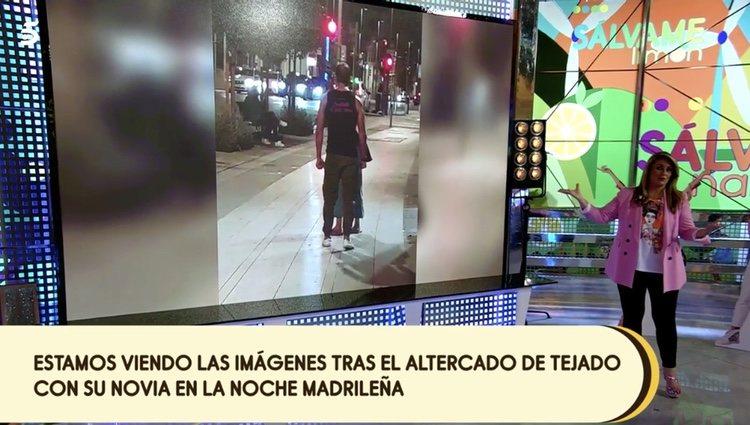 Una de las imágenes emitida en 'Sálvame' sobre la discusión entre Antonio Tejado y su novia Marina / Foto: Telecinco.es