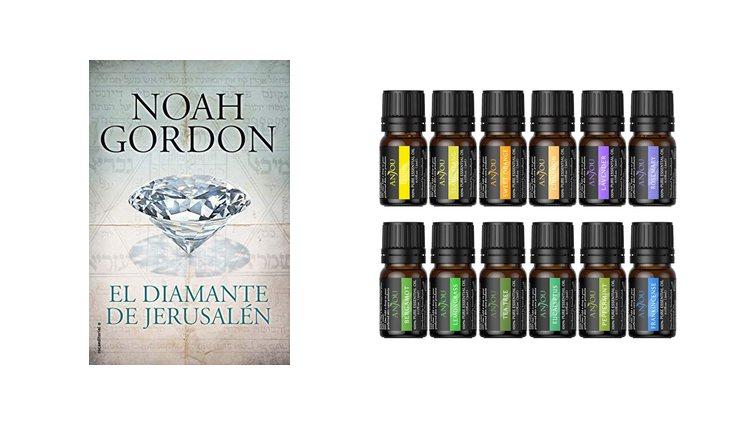 Libro 'El diamante de Jerusalén' y aceites esenciales