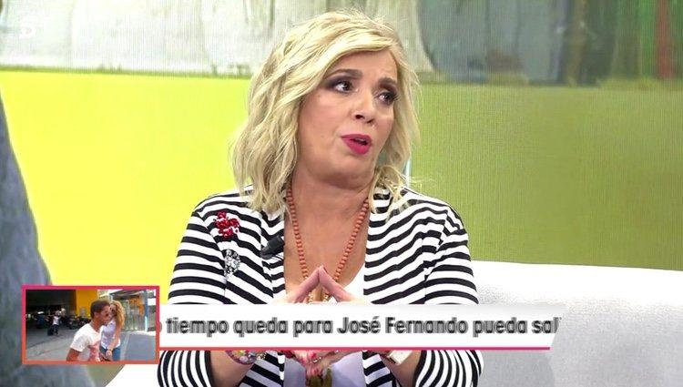 Carmen Borrego haciendo una petición a sus excompañeros de 'Sálvame' / Telecinco.es