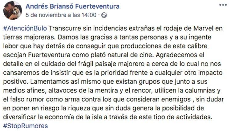Andrés Briansó desmintiendo la noticia sobre 'Los Eternos' / Foto: Facebook