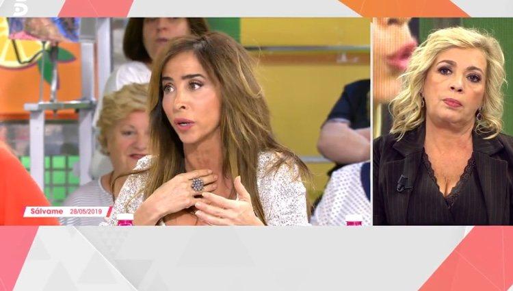 Carmen Borrego escuchando las palabras de María Patiño / Telecinco.es