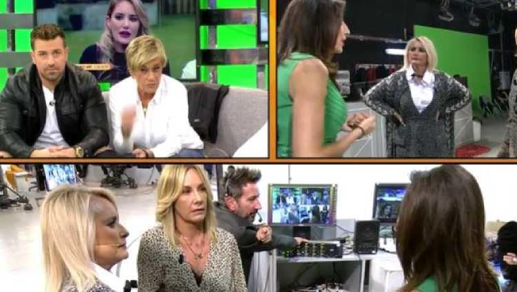 Las colaboradoras de 'Sálvame' discutiendo/foto:telecinco.es