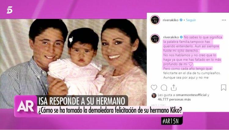 'El Programa de AR' mostrando la felicitación de Kiko Rivera a Chabelita Pantoja / Foto: Telecinco.es