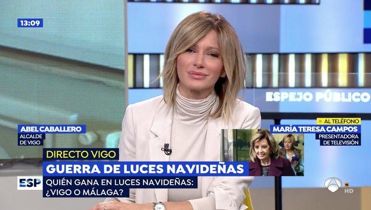Susanna Griso hablando con María Teresa Campos en 'Espejo Público' / Foto: Antena3.com