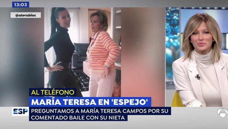 Susanna Griso preguntando a María Teresa Campos por sus vídeos con su nieta, Alejandra Rubio / Foto: Antena3.com