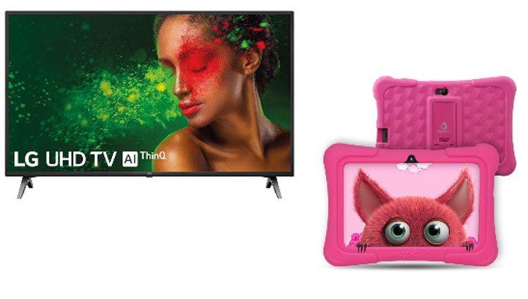 Televisor LG y tableta infantil