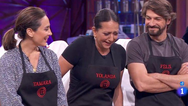 Tamara, Yolanda y Félix antes de una de las pruebas de eliminación - Fuente: Rtve.es