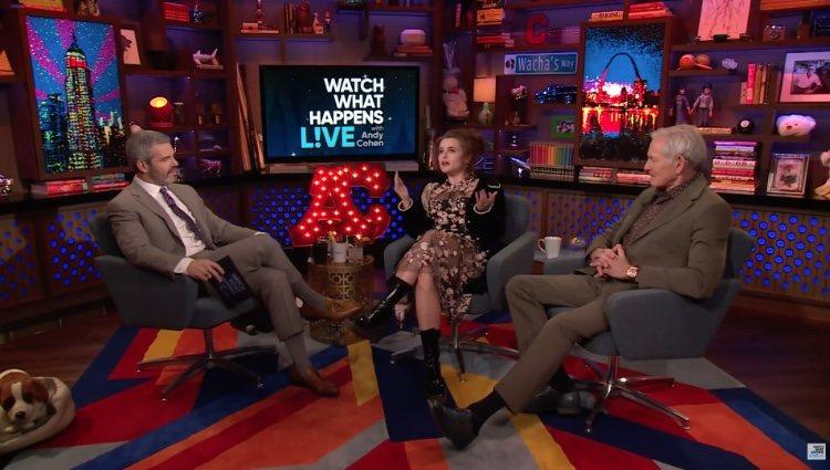 Helena Bonham Carter siendo entrevistada en 'Watch What Happens Live with Andy Cohen'/ Foto: Youtube.com