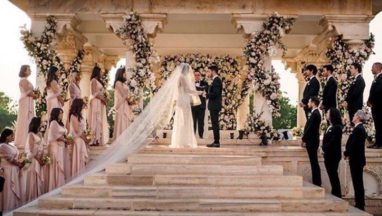 Nick Jonas y Priyanka Chopra en un momento de su boda