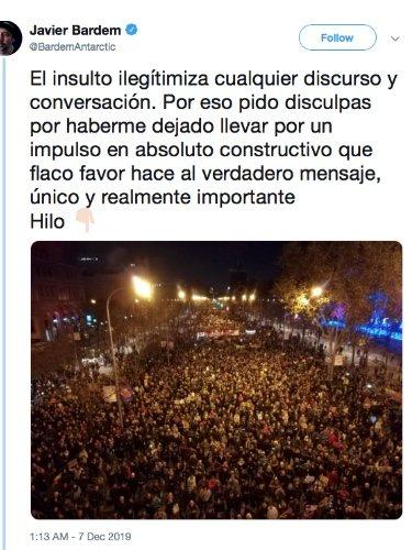 Tweet de Javier Bardem pidiendo perdón por su discurso en la marcha por el clima/ Foto: twitter