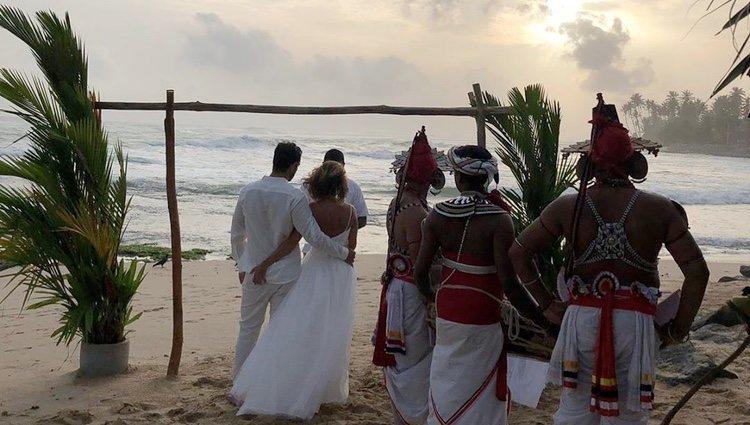 María Patiño y Ricardo Rodríguez durante su boda en Sri Lanka | Foto: Instagram