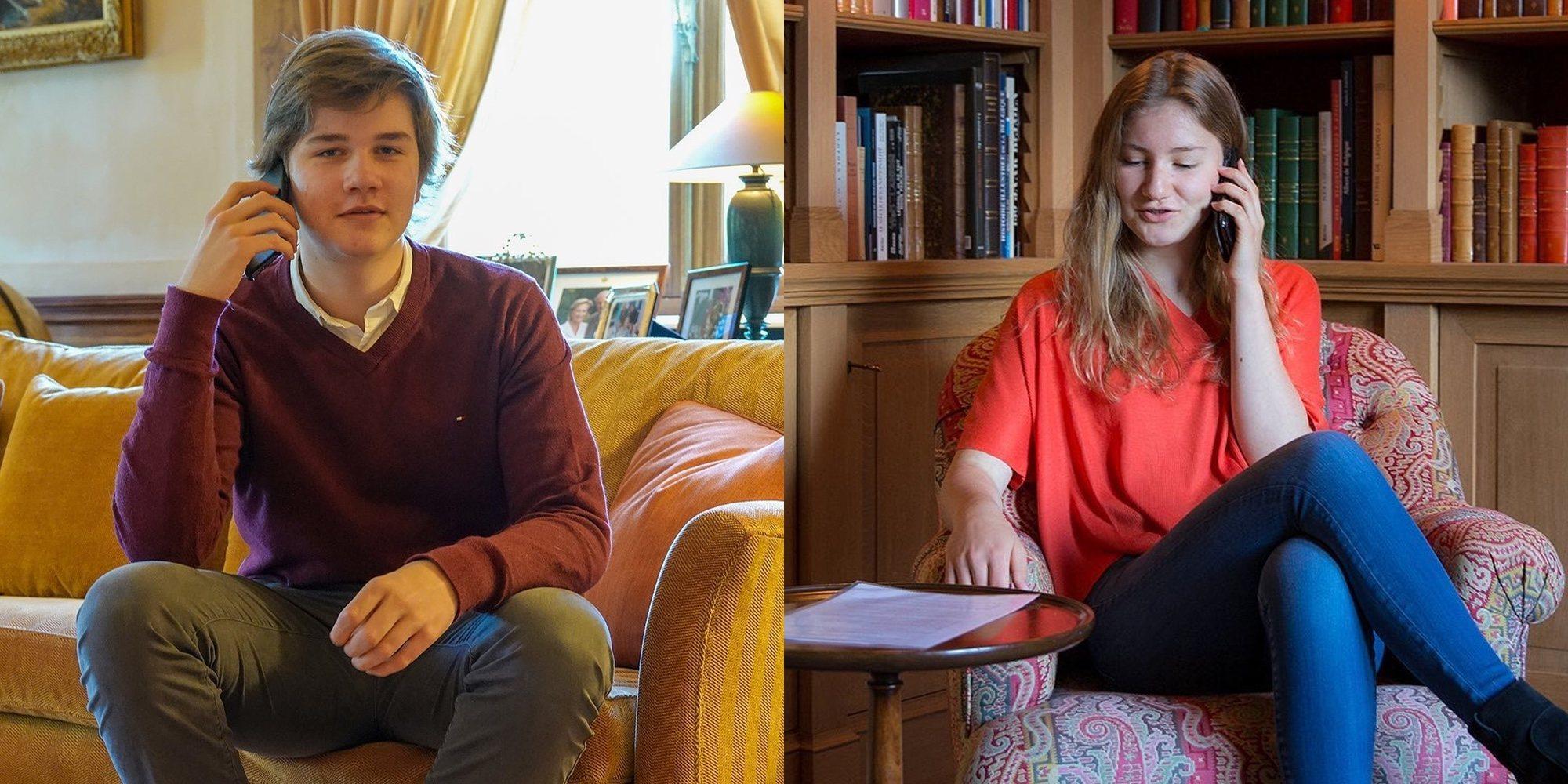 Los hijos de los Reyes Felipe y Matilde de Bélgica hacen compañía teléfonica a personas mayores