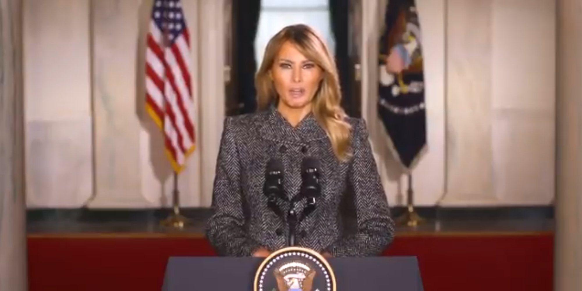 El discurso de despedida de Melania Trump antes de dejar la Casa Blanca en el que casi se olvida de Donald Trump