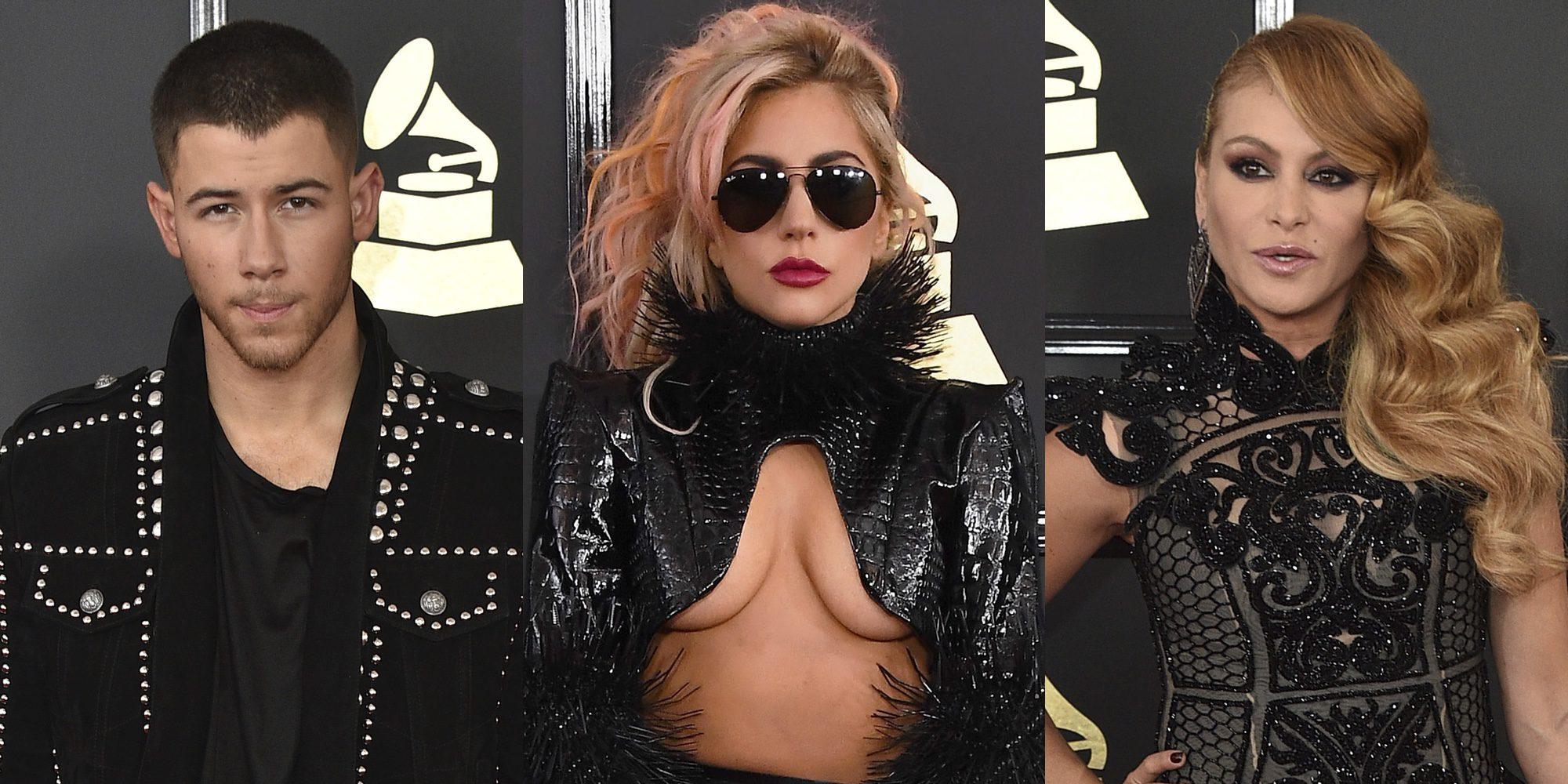Nick Jonas, Lady Gaga o Paulina Rubio brillan en la alfombra roja de los Grammy 2017