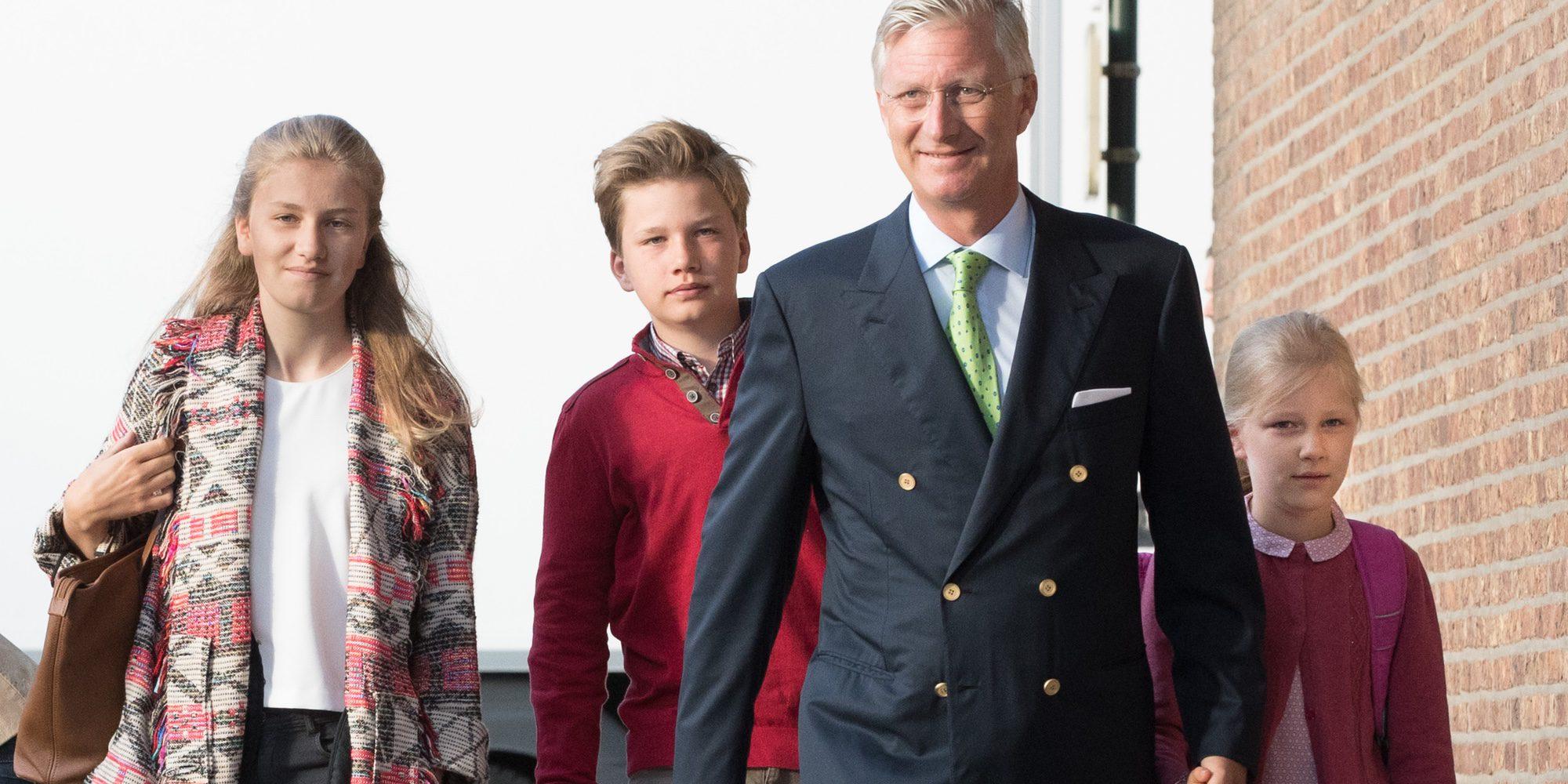 La vuelta al cole de los hijos de los Reyes de Bélgica da una lección a la Princesa Leonor y la Infanta Sofía