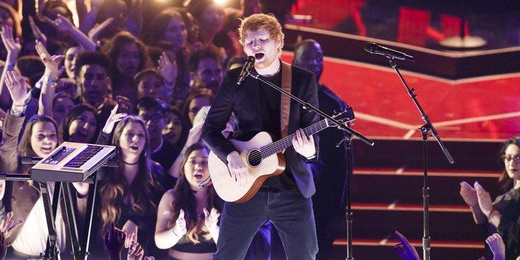 Un fan de Ed Sheeran salta al escenario durante un concierto en Australia