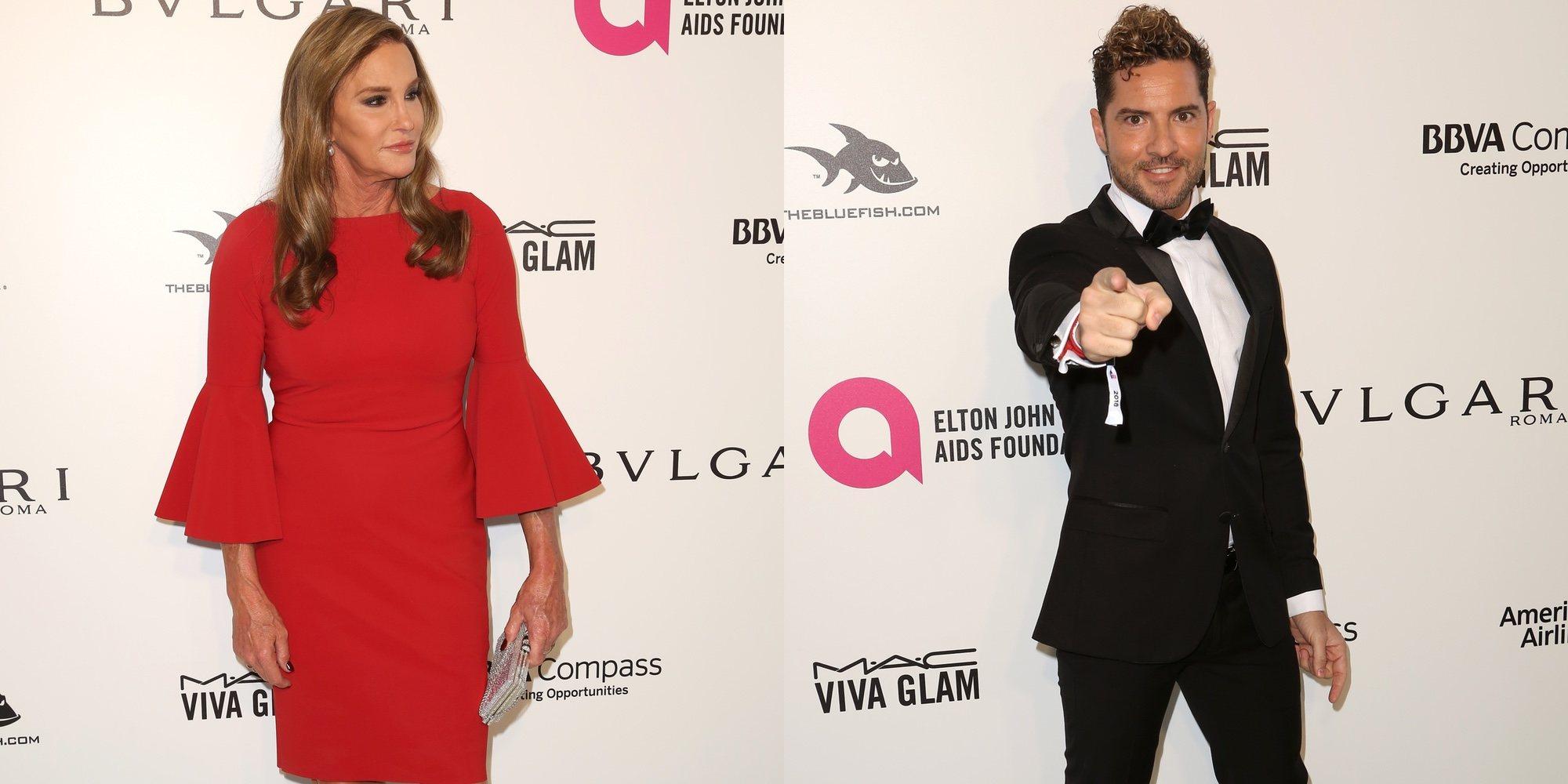 David Bisbal se divierte en la Fiesta de Elton John tras los Oscar 2018 junto a Ricky Martin y Caitlyn Jenner