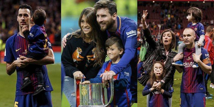 Los hijos de Piqué, Iniesta, Jordi Alba, Messi,... celebran el triunfo del Barça en la Copa del Rey 2018