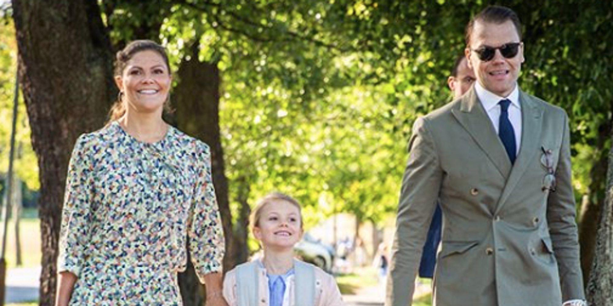 La Princesa Estela de Suecia derrocha felicidad en su primer día de colegio
