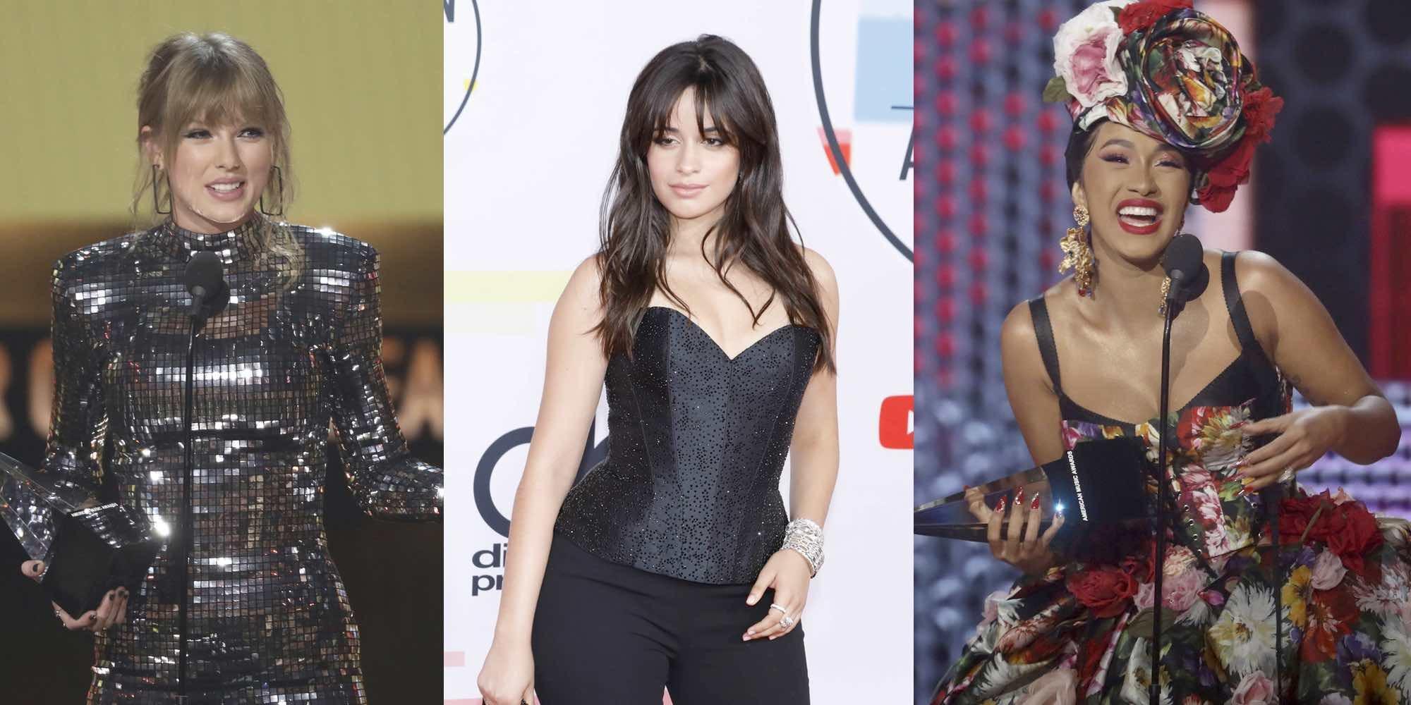 Taylor Swift, Camila Cabello y Cardi B, las grandes triunfadoras de los American Music Awards 2018