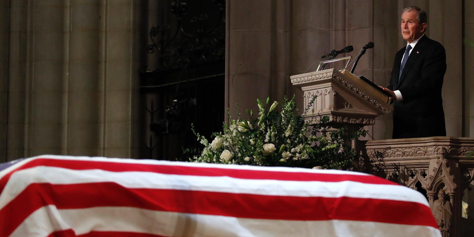 Así ha sido el funeral de George Bush: tensiones, reencuentros y un emotivo discurso de su hijo George W Bush