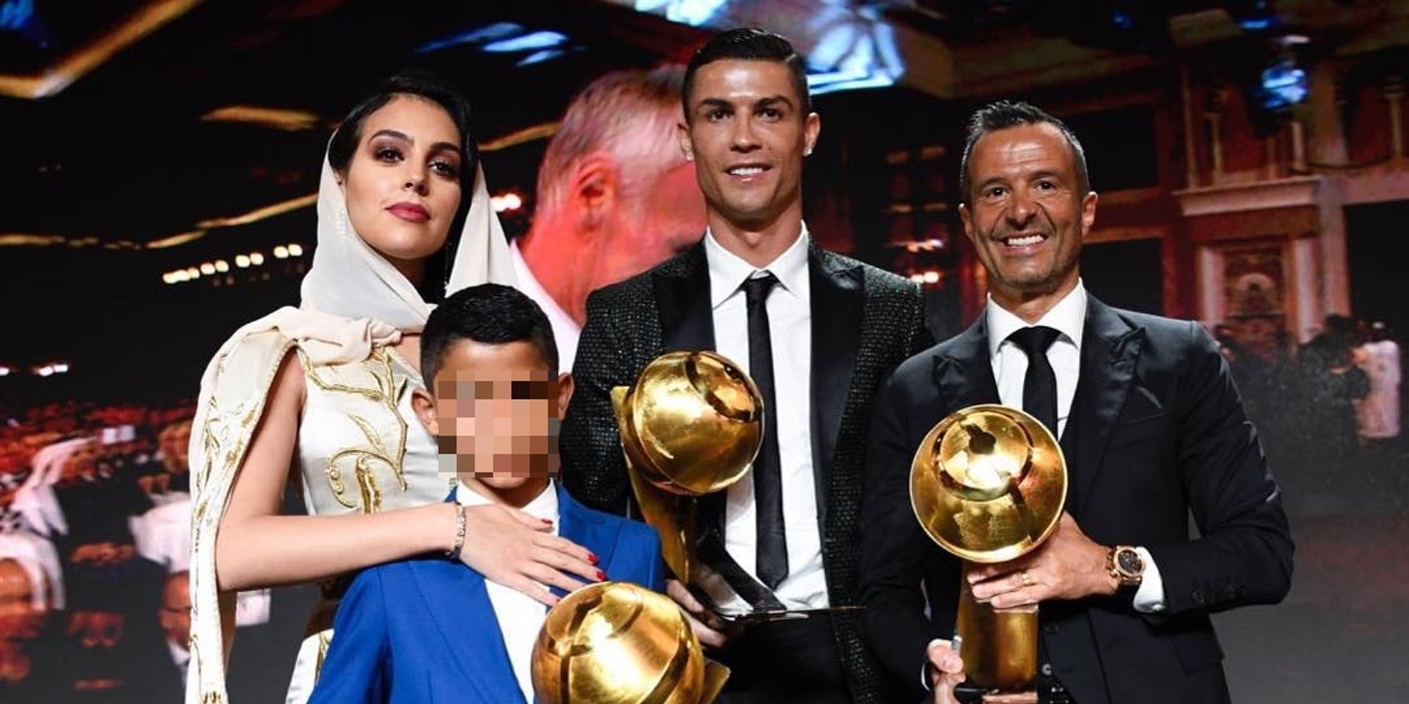 El exotismo de Georgina Rodríguez acompañando a Cristiano Ronaldo en los Globe Soccer Awards