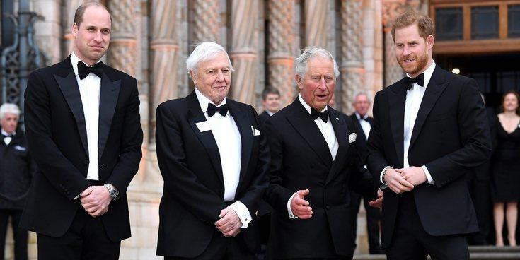El buen rollo del Príncipe Carlos y sus hijos Guillermo y Harry en una noche ecologista con los Beckham