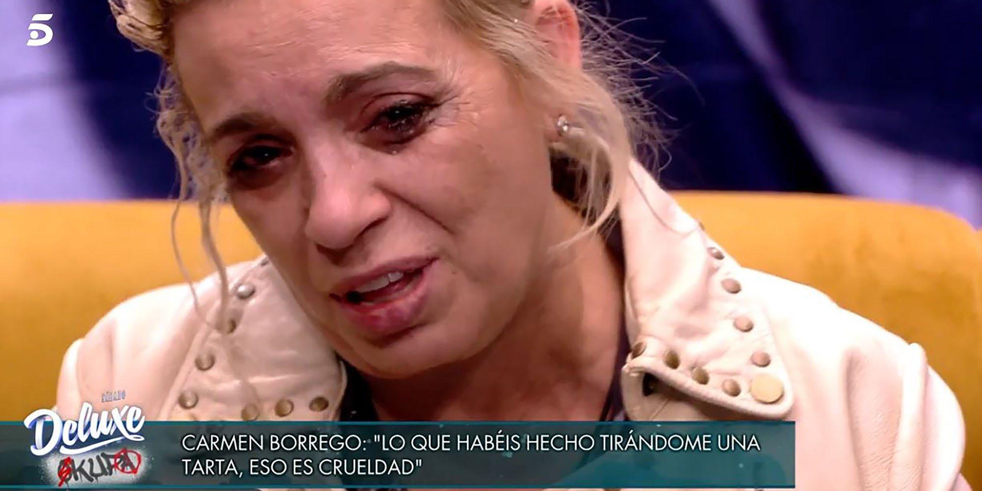 """El cabreo de Carmen Borrego en 'Sálvame Okupa' por el tartazo de payasín: """"Es una crueldad"""""""