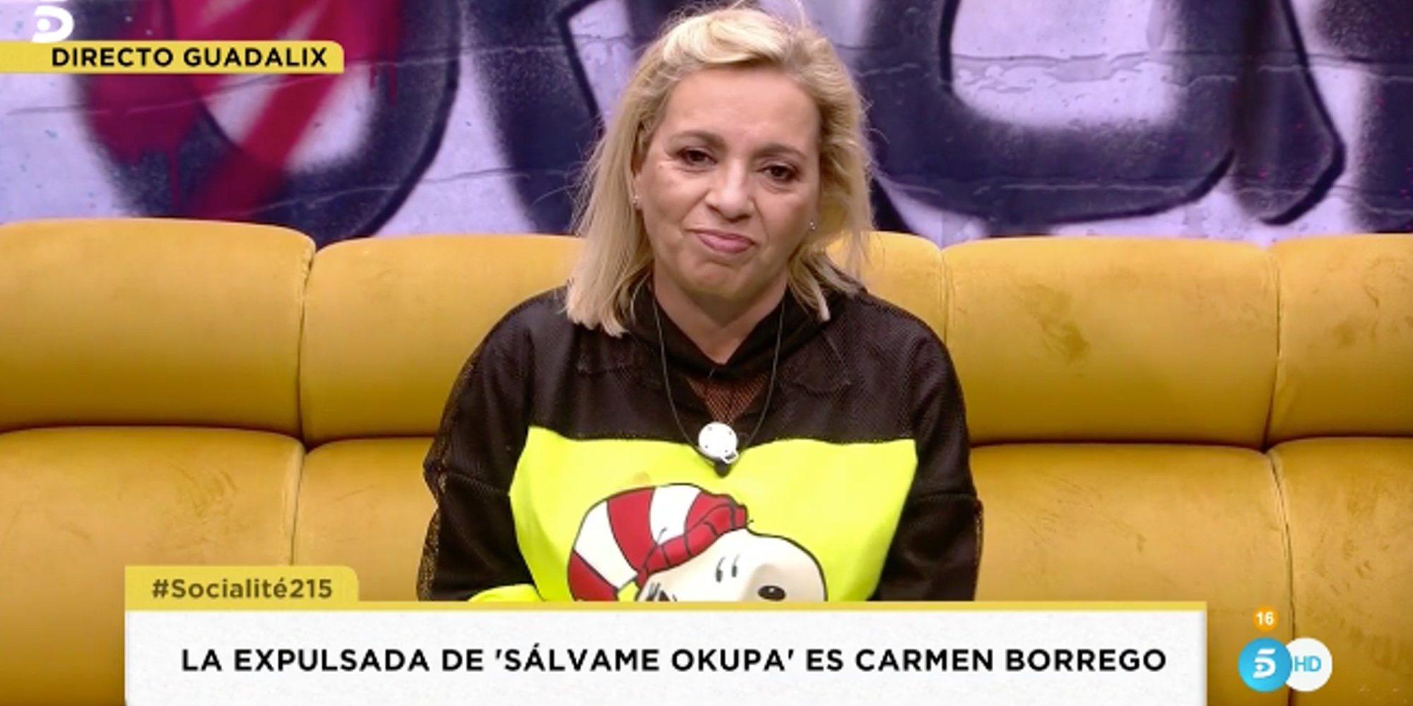 """Carmen Borrego, al hospital tras salir de 'Sálvame Okupa': """"Tengo el cuello muy inflamado"""""""
