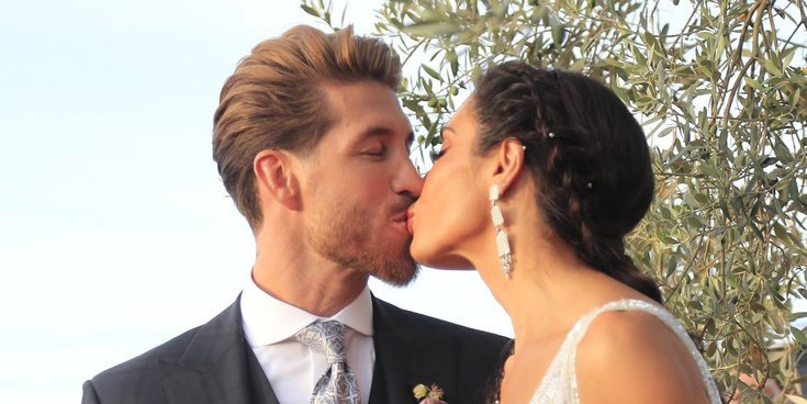 Así fue el momento en el que Pilar Rubio y Sergio Ramos descienden en su boda dentro de un dragón