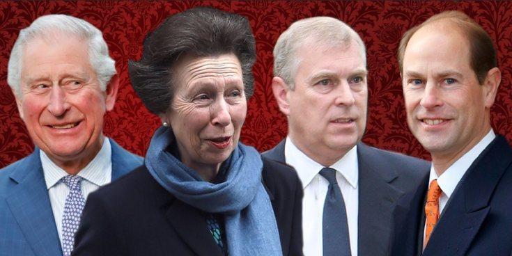 Así son y así se llevan el Príncipe Carlos, la Princesa Ana, el Príncipe Andrés y el Príncipe Eduardo