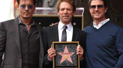 El productor Jerry Bruckheimer descubre su estrella del Paseo de la Fama junto a Tom Cruise y Johnny Depp