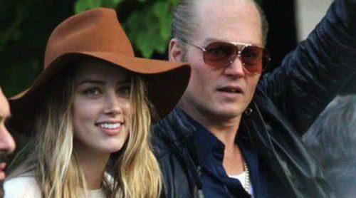 Johnny Depp recibe la visita de Amber Heard en el último día de rodaje de 'Black Mass'
