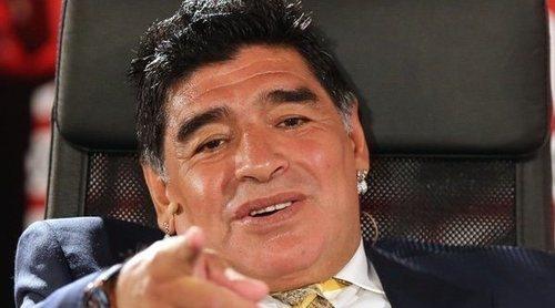 El desmedido show de Maradona con peineta incluida en Rusia tras la victoria de Argentina en el Mundial