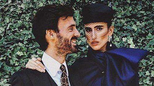 Enrique Solís presenta a su novia Alejandra Domínguez en la boda del Duque de Huéscar y Sofía Palazuelo