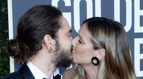 Heidi Klum y Tom Kaulitz derrochan pasión en los Globos de Oro 2019 posando por primera vez como prometidos