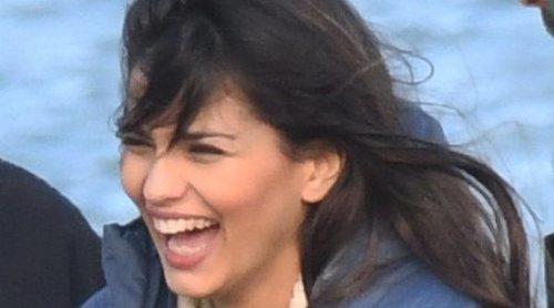 Sara Sálamo, una feliz premamá en el set de rodaje