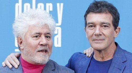 Pedro Almodóvar, Penélope Cruz, Antonio Banderas y Asier Etxeandía en la presentación de 'Dolor y gloria'