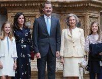Los Reyes Felipe y Letizia y sus hijas Leonor y Sofía acuden a la Misa de Pascua 2019 con la Reina Sofía