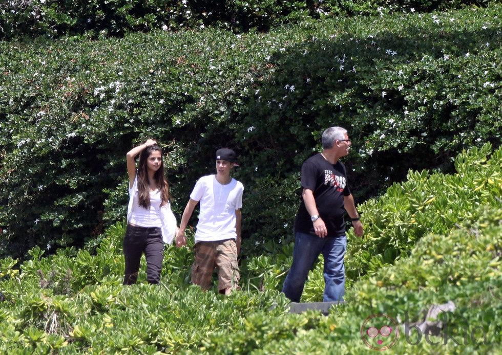 Justin Bieber, Selena Gomez y su guardaespaldas