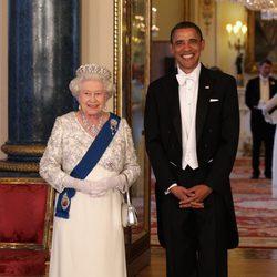 La Reina Isabel II y Barack Obama en Buckingham Palace