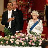 La Duquesa de Cornualles, el Presidente Obama, el Príncipe Felipe e Isabel II