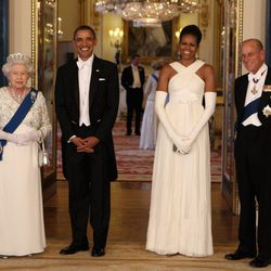 Isabel II, el Duque de Edimburgo y los Obama en Buckingham Palace