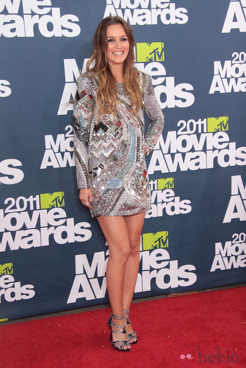 Leighton Meester en la alfombra roja de los MTV Movie Awards