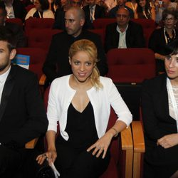 Piqué y Shakira en una conferencia en Isral