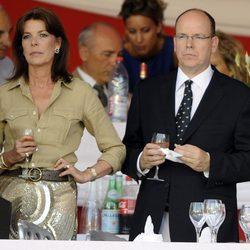 Carolina y Alberto de Mónaco en el Concurso de Hípica de Monte-Carlo