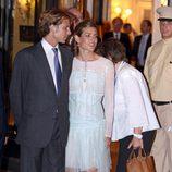 Carlota y Andrea Casiraghi en el cóctel de la boda de Alberto de Mónaco y Charlene Wittstock