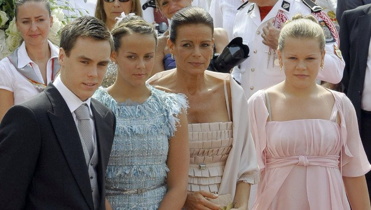 Estefanía de Mónaco y sus tres hijos en la boda de Alberto y Charlene