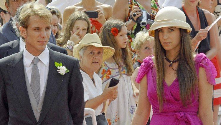 Andrea Casiraghi y Tatiana Santo Domingo en la boda de Alberto y Charlene